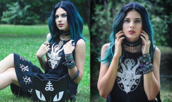 Ombre Black & Teal Green Lace Front Wig